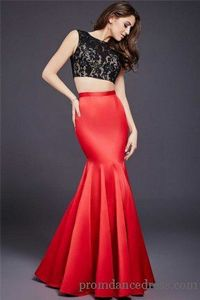 Jovani 37297 Boat Neck Lace Black Red Mermaid Evening Dress 2016