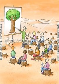 This cartoon shows that deforestation got to the point were all the trees were cut down so now you have to teach people what they look like thought a picture.