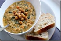 White Bean and Kale Veggie Stew with Crunchy Roasted Chickpeas by Daily Garnish