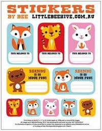 Cute printable bookplates from We Love to Illustrate for Children.