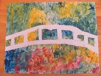 Tape the shape of a bridge on a blank paper. Let kids use their fingers (or sponges) with tempera paint to create the background. Peel the tape off and, voila!, a Monet-esque bridge scene is born!