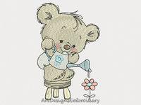 Cute teddy bear embroidery design, teddy bear design, embroidery teddy bear with flower, embroidery designs, embroidery, baby embroidery $4.90