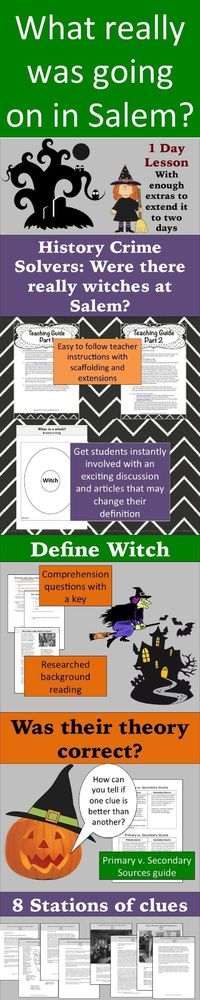 What the heck is a witch? Is it the stuff of Harry Potter? Has our definition of witches changed over time? Put your super sleuths to work and use it as a jump off activity for colonization, The Crucible, or a fun activity for Halloween. After engaging s