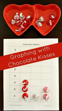 Create real graphs using chocolate kisses. Include free printable graphing sheet for preschool and kindergarten.