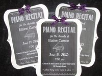 """Chalkboard style piano recital invitations; there's no tutorial on the blog, but if you want to see them on the blog, look at the post on July 2013, """"The Rest of May and June"""", where I also have photos of how I decorated for the piano recita..."""
