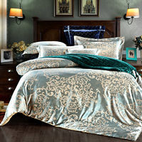 SunnyRain 4-Pieces Luxury Bedding Set Queen King Size Bed Set Jacquard Lace Duvet Cover Bed Sheet Bed Linen