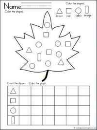 Graphing Shapes (Fall Leaf Theme). Practice sorting, counting, and graphing shapes with this wonderful fall leaf freebie.