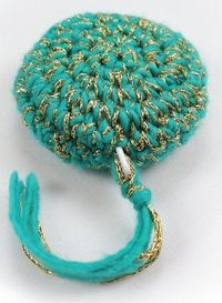 "Free pattern for ""Crochet Tape Measure Cover""...I love the glittery yarn!"