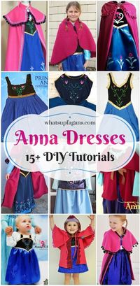 Want to make a homemade DIY Princess Anna costume dress for Halloween or play? Here are 15+ dress, cape, and hat tutorials from Disney's Frozen!