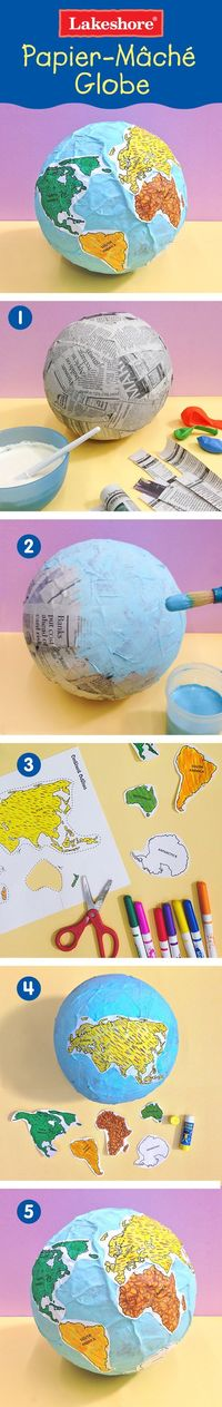 Show students a globe of the Earth and help them glue their continents in the appropriate location on their balloon globes. Encourage students to mark an �€œX�€ on the location where they live!