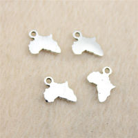 Pack of 50 Mini Silver Colour Africa Map Charms. 10mm x 13mm Alkebulan Motherland Pendants £6.99