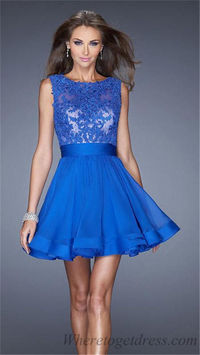 La Femme 20429 Blue Lace High Neck Short Prom Dresses 2015