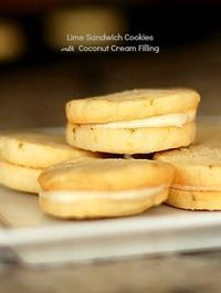 Lime Sandwich Cookies with Coconut Cream Frosting make for the perfect little treat for the holidays. Perhaps for a Thanksgiving or Christmas tea time?