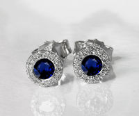Sapphire Studs Halo Earrings surrounded with Diamonds Birthday Gift Minimalist Earrings Sunflowers Earrings 14K or 18K White gold $745.00