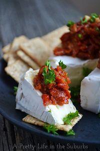 Brie with Sundried Tomatoes. A quick & delicious appetizer!