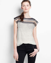 Dot Striped Flutter Sleeve Top