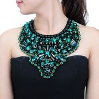 Fashion Beauty Luxury Jewelry Shiny Crystal Glass Resin Bib Statement Necklace