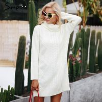 Turtleneck high split pullover sweater dress $43.98