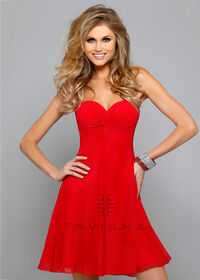 2015 Simple Red Empire Bust Ruched Sweetheart Corset Back Party Dress