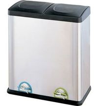 Two-Compartment Stainless Steel Recycle Bin features two removable recycling bins at 30 liters each.