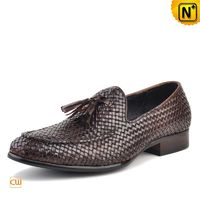 Cwmalls Mens Brown Woven Leather Tassel Loafers CW750058