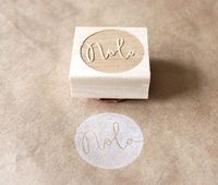 personalized round wooden rubber stamp - eatpraycreate