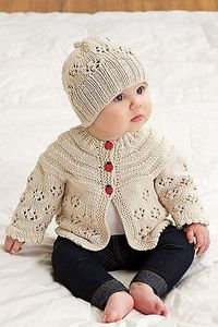 Ravelry: Easy Lace Raglan Jacket & Hat pattern by Nazanin S. Fard