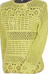 "Crochet yellow long sleeve blouse s '�""�'LCT-MRS'�""�' with diagrams."