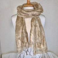 Eco Printed Eri Silk Scarf/Wrap/Shawl Eco Printed with Natural dyes and Botanical Plants, Evening Scarf, Mother of the Bride Shawl, boho $60.00