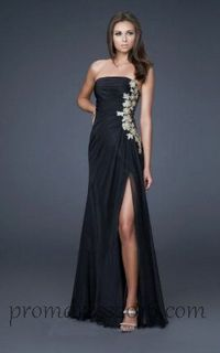 Open Back Black Prom Dress with Applique Sale