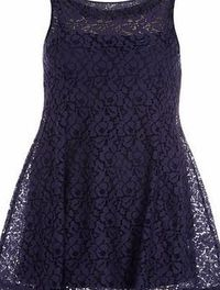 Dorothy Perkins Womens Voulez Vous Navy Sleeveless Swing Dress- Navy light crochet double layer short sleeveless swing dress. Length 79cm. 100% Polyester. Hand wash separately in cold water, dry flat, iron on reverse. http://www.comparestoreprices.co....