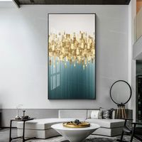 Large abstract flower painting green gold paintings on canvas art acrylic contemporary framed Wall Art home decor $161.25