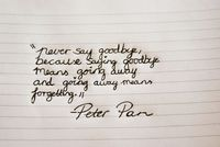 """""""Never say goodbye, because saying goodbye means going away and going away means forgetting"""" -Peter Pan"""