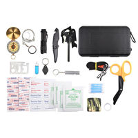 20 In 1 Multifunctional Tools Waterproof Survival Tactical Box Scissors Flashlight Compass Tourniquet Whistle Camping Hiking SOS Emergency Tools