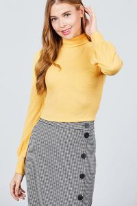 Women's Top Fall Winter Fashion Long Sleeve Turtle Neck Rib Knit Top $16.00