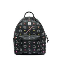 MCM Small Stark Skyoptic Stud Visetos Backpack In Black