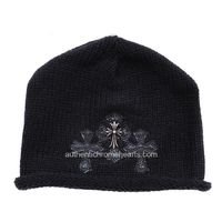 Black Chrome Hearts Knit Cap with Three Leather Crosses