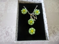 Personalized w/Initial Sunflower Necklace with Matching Ring and Earrings, Flower Girl Matching Gift Set, Birthday Matching Gift Set, Gift $14.99