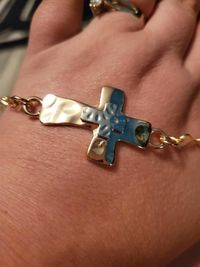 Two Tone Cross Bracelet (Gold and Silver) $15.00