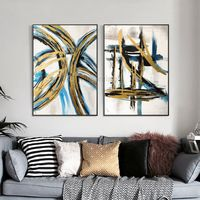 Set of 2 wall art abstract framed paintings on canvas original painting Gold art blue large wall art wall pictures cuadros abstractos $176.50