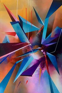 Contemporary, abstract geometric statement painting 'Union Pt 2' by Simon Kenny $6495.00
