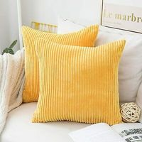 Throw Pillow Covers ONLY 18x18 Sunflower Yellow Velvet Texture Set of 2