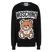 Moschino Safety Pin Teddy Womens Long Sleeves Sweater Black