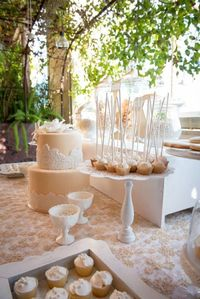 This gorgeous NUDE, BEIGE, AND LACE DESSERT TABLE was submitted by Salin Voskanian of Sweet Candy Couture. What a stunning dessert table! I absolutely love the