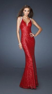2013 La Femme 18616 Red Long Sequins Prom Dresses