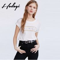2017 summer new fashion street letter printed loose casual short sleeve t-shirt woman - Bonny YZOZO Boutique Store