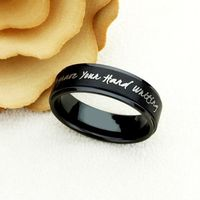 8mm Black Tungsten Wedding Band Promise Ring Inspiration Ring Personalized Hand Writing Ring Custom Engraving Your Own Message $60.00