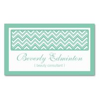 Chevron Mint Beauty Consultant Business Cards