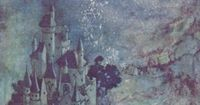 Dreamy nightscape from fairy land by Edmund dulac. It almost seems like under water.