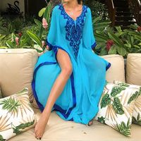 Blue Embroidered Summer Beachwear cover up $26.92